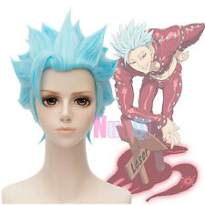 USA Ship The Seven Deadly Sins Greed Ban Short Light Blue Cosplay Full Wig