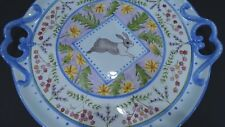 "VTG Zrike Danna Cullen ""Meadow Bunny"" Round Ceramic Serving Tray"