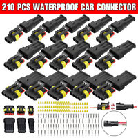 15 Sets 2/3/4/ Pin Way Sealed Waterproof Electrical Car Wire Connector Plug Kit