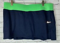 NWT NIKE DRI-FIT Womens' Navy Green Tennis Golf Running Skirt Skort Size Large
