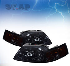 Fit 99-04 Ford Mustang Crystal Replacement Headlight Smoke /Amber Reflector Lamp