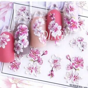 3D Acrylic Engraved Nail Art Decor Sticker Embossed Color Flower White & Pink