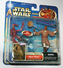 Star Wars AOTC Figure - MACE WINDU with (RED) Blast-Apart Droid