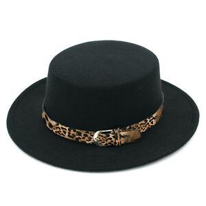 Women's Wool Blend Flat Top Boater Hat Wide Brim Bowler Cap Leopard Leather Band