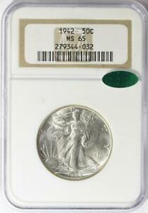 1942 Liberty Walking Liberty Half Dollar - NGC MS-65 CAC - Mint State 65 CAC