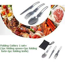 3 In 1 Camping Folding Detachable Knife Fork Spoon Cutlery Set For Travel Picnic