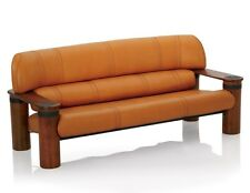 """81"""" W Sofa soft Italian tan leather hand made exotic wood brown frame unique"""