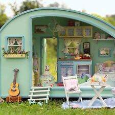 DIY Time Travel Dollhouse Cute Caravan Doll House Miniature Kit XMAS Gift Decor
