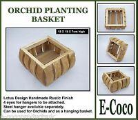 HANDMADE WOODEN RUSTIC HANGING BASKET,  LOTUS DESIGN, FOR ORCHIDS & PLANTS