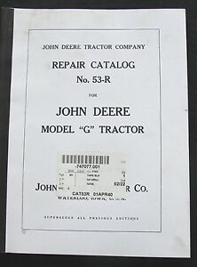 1940 JOHN DEERE MODEL G TRACTOR REPAIR PARTS CATALOG MANUAL VERY CLEAN