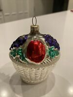 Vintage West Germany Glass Christmas Ornament - Basket Of Fruit 3 1/2 Inches