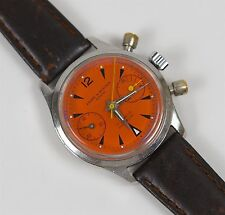 Rare Vintage Baume Mercier Geneve Chronograph Landeron Cal.149 Watch Orange Dial