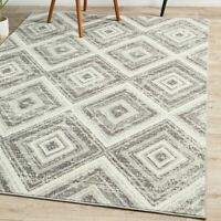 Stadia Diamond Design Ivory Silver Modern Floor Rug - 4 Sizes **FREE DELIVERY**