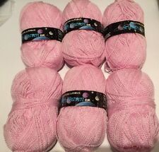 6 X 100g Vintage Water Wheel Seventh Heaven DK Yarn Pink