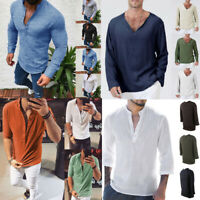 AU Mens V-Neck 3/4 Sleeve Shirts Casual Beach Yoga Tee Top Blouse Summer T-Shirt