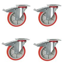 "200mm heavy duty castors, 4 x Braked Casters. 8"" poly nylon wheels. RT44"