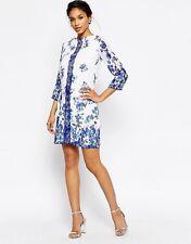 Little Mistress FLORAL Shift Dress -- UK taglia 8 -- Blue & white