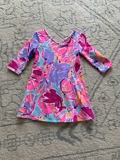 Lilly Pulitzer Girls Pink Flower Dress  3/4 Sleeve Size 4-5 EUC