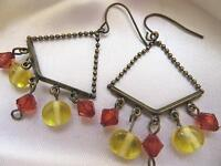"Vintage Brass Tone Yellow & Orange Dangle Drop Beads Pierced Earrings 2"" Long"