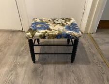 Vintage Footstool Foot Rest Seat Stool With Bobbin Turned Legs And Floral Design