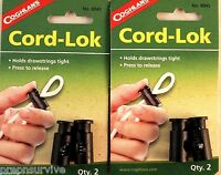 4 SPRING LOADED CORD LOK'S FOR PARACORD, SHOCK CORD, DRAWSTRINGS, DRY BAGS TIGHT