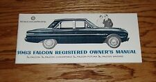 1963 Ford Falcon Owners Operators Manual 63 Convertible Futura Wagon