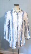 JNY Jones of New York M 100% Linen Long Blue and White Tunic Shirt Blouse Top