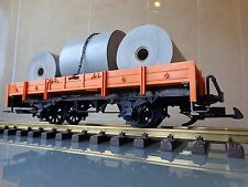 LGB 4010 Open Wagon flat car in orange with customized freight G scale
