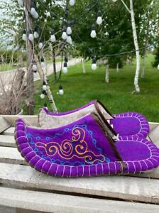 Kazakhstan mens slippers handmade from eco friendly wool felted size 42-43 eur