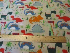 2 Yards Tan/Beige Riley Blake Dinosaur Flannel Fabric