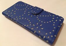 Apple Iphone 6 6S 4.7 leather cover wallet book case stand bling diamond blue