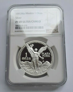 1990 Coin with a 1991 Tag  Mo Mexico 1 Onza Silver Proof NGC PR69 Ultra Cameo
