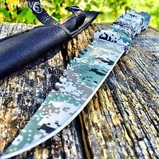 "10.5"" CAMO TACTICAL HUNTING KNIFE Survival Military Fixed Blade Bowie -T"