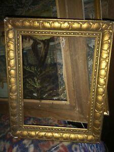 Joli cadre ancien Bois doré sculpté pour tableau Feuillure 21x29 cm