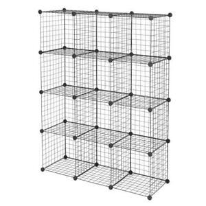 12-Cube Organizer Storage Shelves Wire Metal Grid Rack Cabinet Cubbies Bookcase