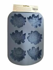 Wilton 6 cavity Silicone Floral Flower Treat Mold Blue 2 designs