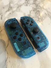 Nintendo Switch Custom Joy Con Electric Blue Transparent Clear Controller