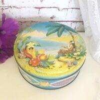 Vintage Hula Girl Hawaiian tin litho box Vintage Peek Frean Biscuits Advertising