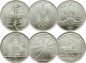 RARE SET 1 RUBLE USSR RUSSIAN COINS 1977 - 1980 * OLYMPIC GAMES IN MOSCOW *A3