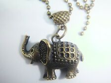 ANTIQUE GOLD TONE ELEPHANT ON A BALL CHAIN FREE ORGANZA GIFT BAG INDIAN AFRICAN