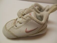 Baby Girls Pink/White NIKE Leather Tennis Shoes, EUC, Sz 2, Laces