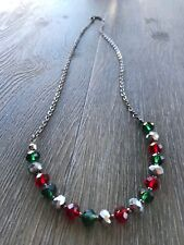 HDMD by Cyndi Long Black Chain Necklace of Red, Green, and Silver Crystal Beads