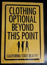 NEW Clothing Optional Tin Sign  8 x 11 1/2  Factory Sealed