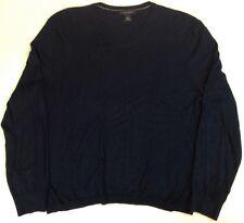 Men's Large Banana Republic V-Neck Sweater, Silk Cashmere Blend, Dark Blue,