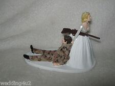 Wedding Party Reception Brown Camo Military Hunter Hunting Cake Topper Gun Rifle
