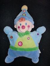 doudou semi plat clown garçon bleu NICOTOY (3 disponibles)