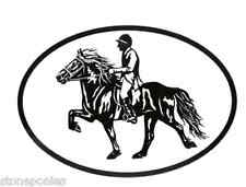 Equine Breed Oval Vinyl Decal Black & White Sticker - Icelandic Horse