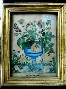 RARE IMPORTANT 1830s AMERICAN FOLK ART WATERCOLOR PAINTING FLOWERS & BUTTERFLIES