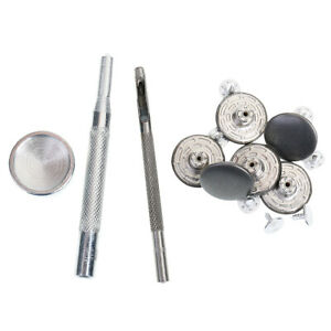 6 Sets 20mm Hammer On Denim Jeans Buttons Silver with Press Die Punch Tool