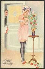Xavier Sager Art Deco Postcard - Sexy Girl in Skimpy Lingerie & Black Stockings